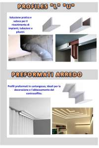 PROFILES L-U E PREFORMATI IN CARTONGESSO