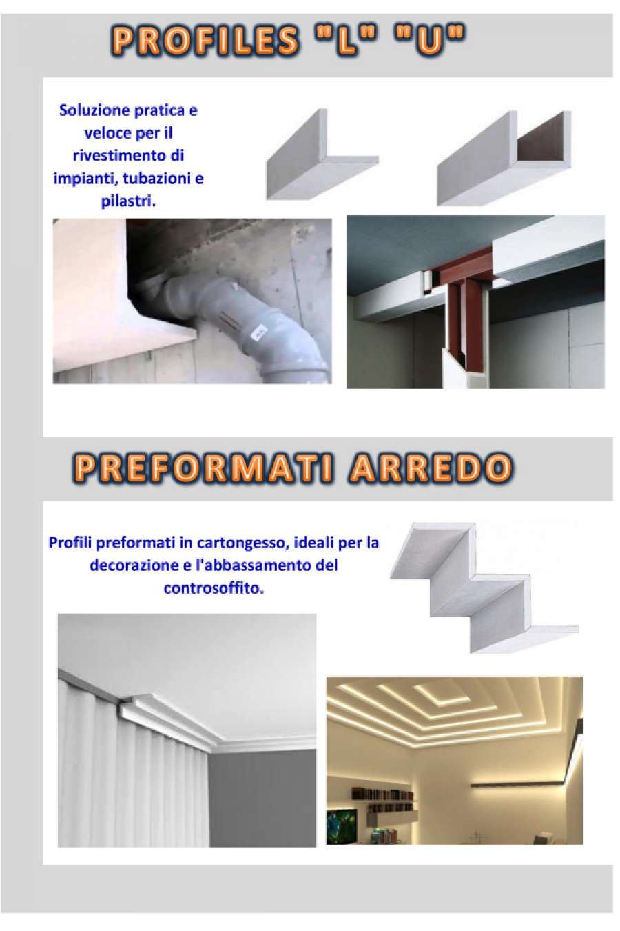 PROFILES L-U E PREFORMATI IN CARTONGESSO|PROFILES L-U E PREFORMATI IN CARTONGESSO|||||